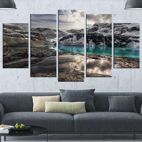 Designart Mountain Creek Under Cloudy Sky Large Landscape Canvas Art Print - 5 Panels