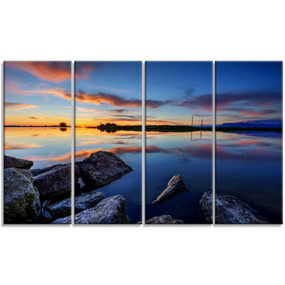 Designart Beautiful Calm Water And Sunset Large Landscape Canvas Art - 4 Panels