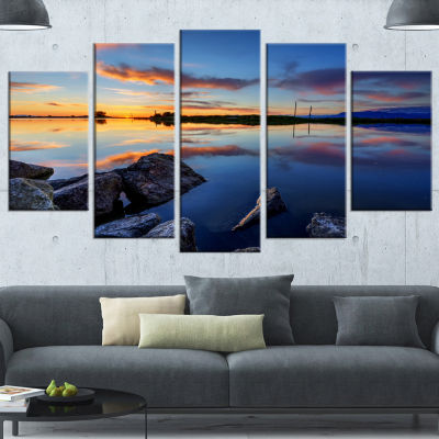 Beautiful Calm Water And Sunset Large Landscape Canvas Art - 4 Panels