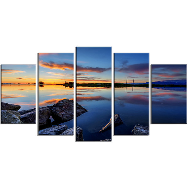 Designart Beautiful Calm Water And Sunset Blue Large Landscape Canvas Art - 5 Panels