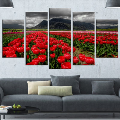 Rows Of Bright Ruby Red Tulips Large Landscape Wrapped Canvas Art - 5 Panels