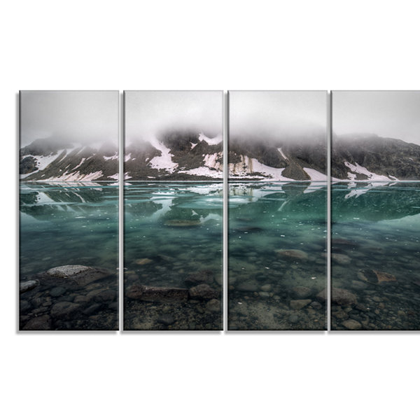 Designart Beautiful Turquoise Mountain Lake LargeLandscapeCanvas Art - 4 Panels