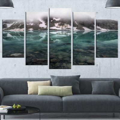Designart Beautiful Turquoise Mountain Lake LargeLandscapeWrapped Canvas Art - 5 Panels