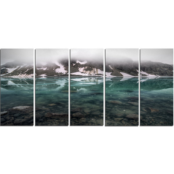 Design Art Beautiful Turquoise Mountain Lake LargeLandscapeCanvas Art - 5 Panels