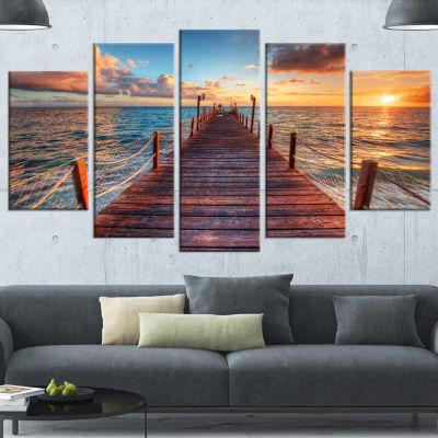 Sunset Over Wooden Sea Pier Modern Canvas Art Print - 4 Panels