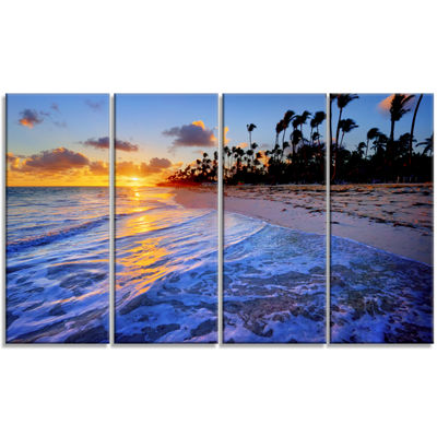 Designart Blue Waves Along The Shore Seashore Canvas Art Print - 4 Panels