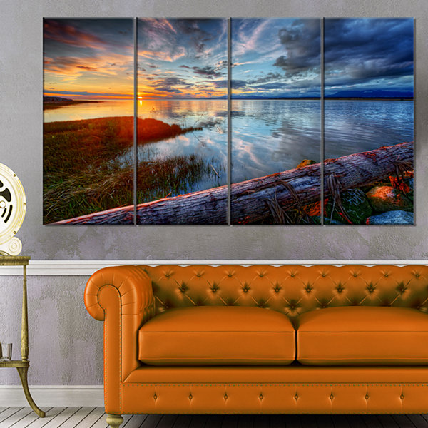 Design Art Colorful River Sunset With Log SeashoreCanvas Art Print - 4 Panels