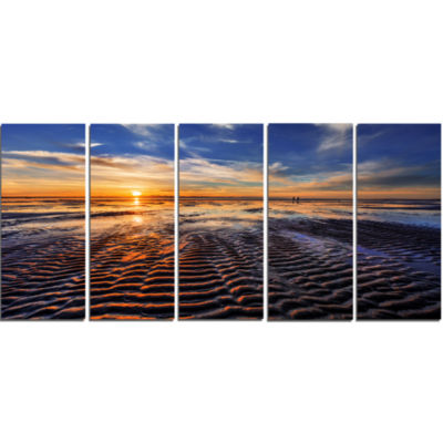 Waves On The Sand During Sunset Seashore Canvas Art Print - 5 Panels