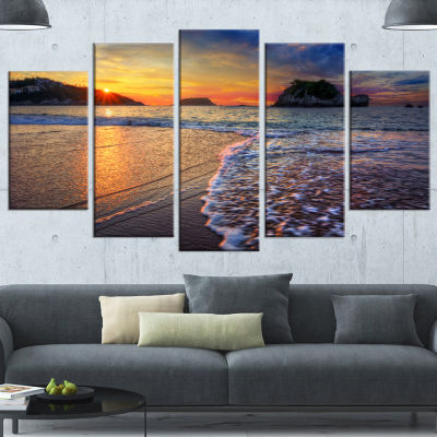 Designart Sandy Beach With Rush Waves Seashore Canvas Art Print - 5 Panels