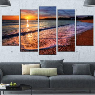 Designart Foaming Waves At Beautiful Sunset LargeSeashore Canvas Art Print - 5 Panels