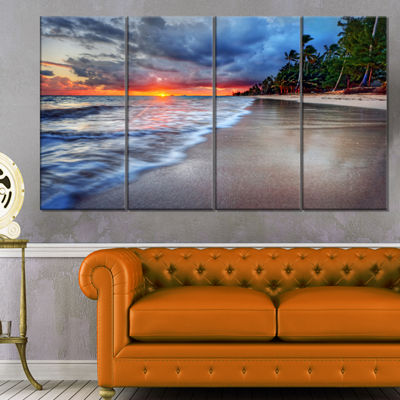 Designart Fluffy Dark Clouds Over Ocean SeashoreCanvas Art Print - 4 Panels