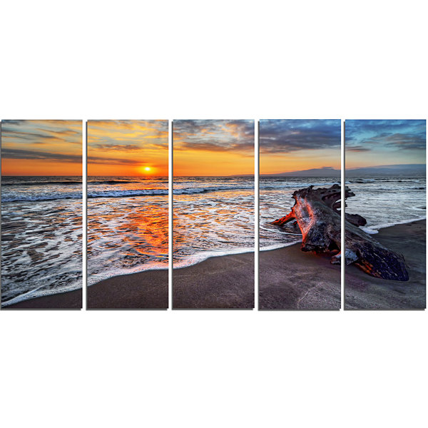 Design Art Fantastic Sandy Shore At Sunset Seashore Canvas Art Print - 5 Panels