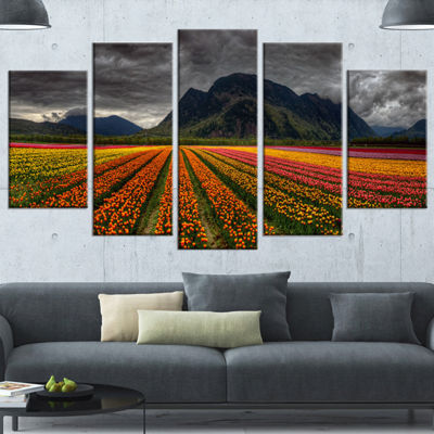 Designart Beautiful Colored Tulips Panorama LargeLandscapeCanvas Art - 4 Panels