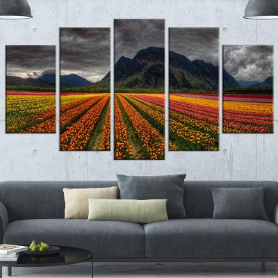 Designart Beautiful Colored Tulips Panorama OrangeLarge Landscape Canvas Art - 5 Panels