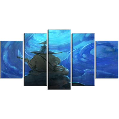 Man Playing Guitar Large Abstract Wrapped Canvas Artwork - 5 Panels