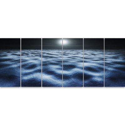 Designart Night With Fool Moon In Sky Large Landscape Canvas Art - 6 Panels