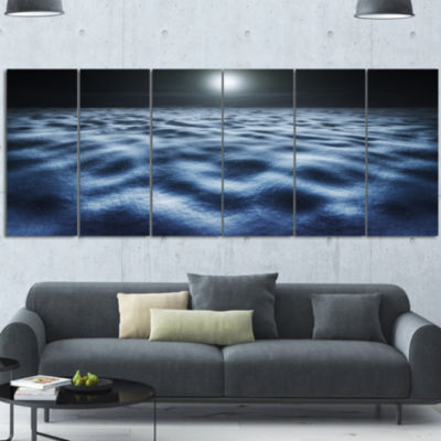 Night With Fool Moon In Sky Large Landscape CanvasArt - 6 Panels
