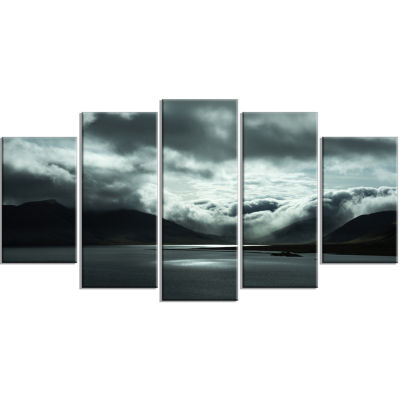 Stormy Iceland In The Summer Large Seashore CanvasArt Print - 5 Panels