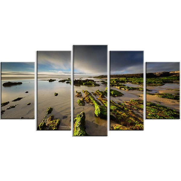 Designart Furnas Virgin Beach Galicia Spain LargeSeashore Canvas Art Print - 5 Panels