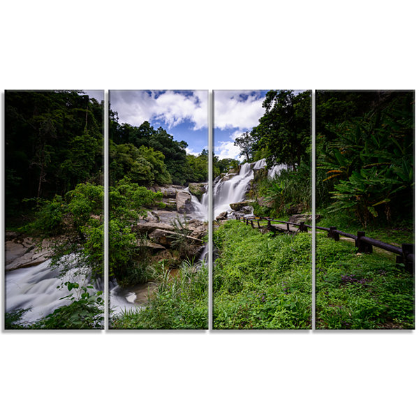 Designart Mae Klang Waterfall Thailand Large Landscape Canvas Art - 4 Panels
