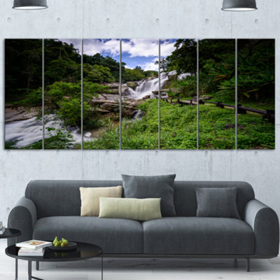 Designart Mae Klang Waterfall Thailand Large Landscape Wrapped Canvas Art - 5 Panels