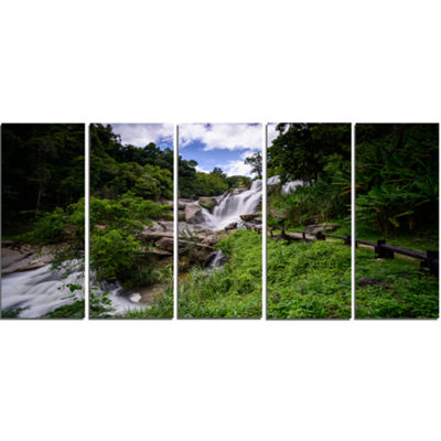 Designart Mae Klang Waterfall Thailand Large Landscape Canvas Art - 5 Panels