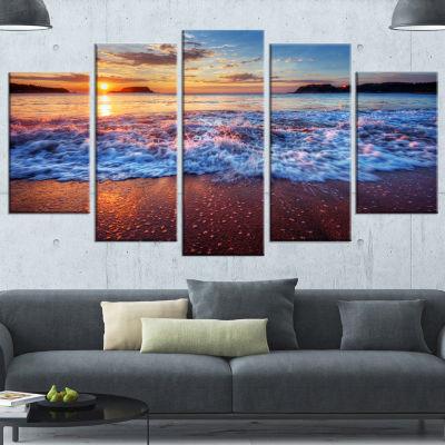 Designart Blue Sea Waves During Sunset Seashore Canvas Art Print - 4 Panels