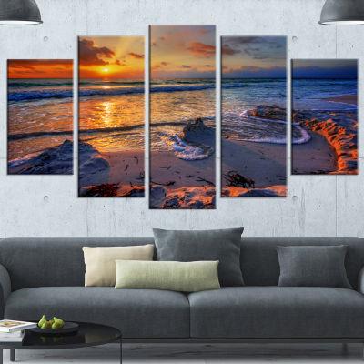 Design Art Beautiful Seashore With Yellow Sun Seashore Canvas Art Print - 4 Panels