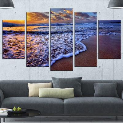 Design Art Sunset Over Blue Sea Waves Seashore Canvas Art Print - 4 Panels