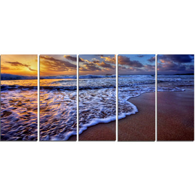 Designart Sunset Over Blue Sea Waves Seashore Canvas Art Print - 5 Panels