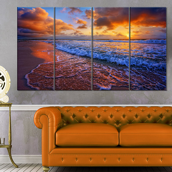 Designart Beautiful Waves Under Cloudy Sky Seashore Canvas Art Print - 4 Panels