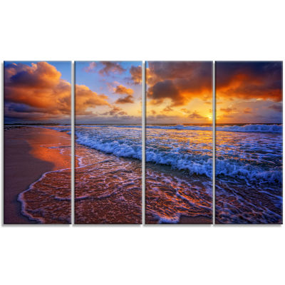 Beautiful Waves Under Cloudy Sky Seashore Canvas Art Print - 4 Panels