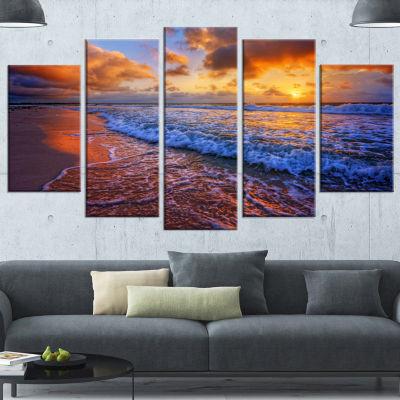 Designart Beautiful Waves Under Cloudy Sky Seashore Canvas Art Print - 5 Panels
