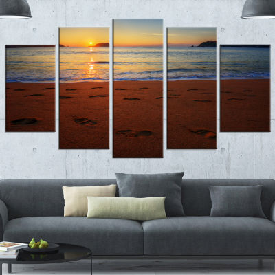Designart Foot Printed Sandy Ocean Beach Large Seashore Canvas Art Print - 5 Panels