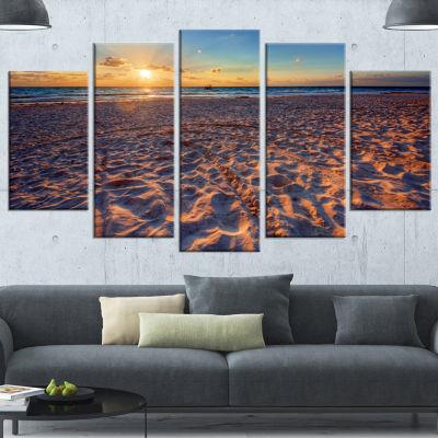 Designart Trodden Sandy Beach At Sunset SeashoreCanvas Art Print - 5 Panels