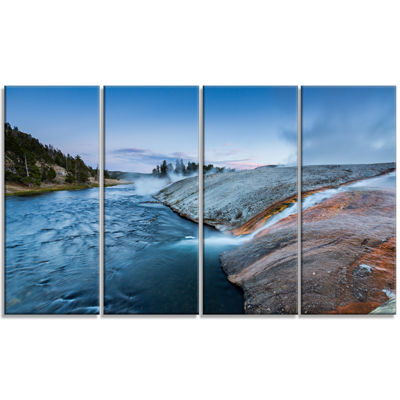 Designart Midway Geyser Basin In Yellowstone Seashore Canvas Art Print - 4 Panels