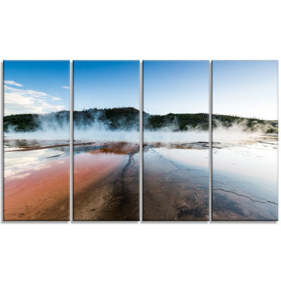 Designart Grand Prismatic Spring At Sunset Seashore Canvas Art Print - 4 Panels