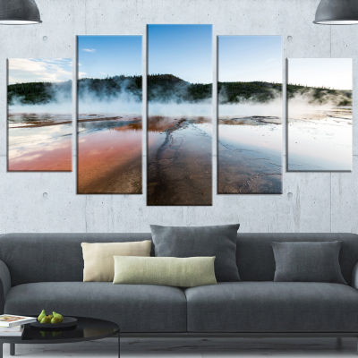 Designart Grand Prismatic Spring At Sunset LargeSeashore Canvas Art Print - 5 Panels