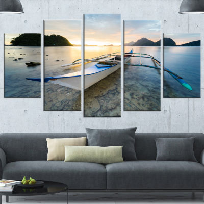 Design Art Boat Docked At Beautiful Sunset Large Seashore Canvas Art Print - 5 Panels