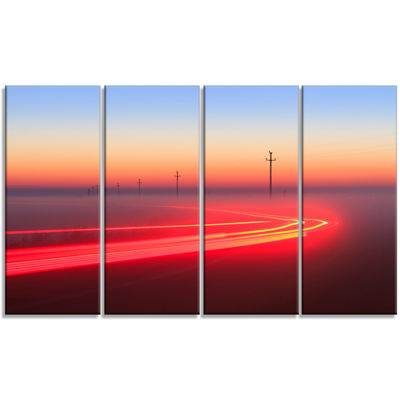 Designart Barcelona Street Traffic Trail Extra Large Canvas Art Print - 4 Panels