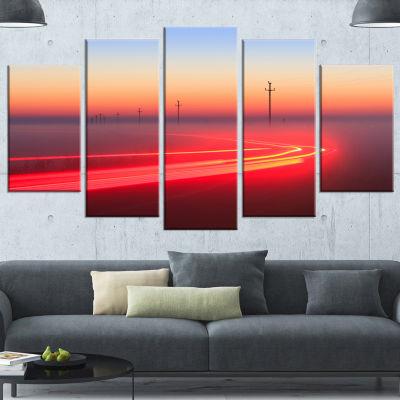 Designart Barcelona Street Traffic Trail Red ExtraLarge Canvas Art Print - 5 Panels