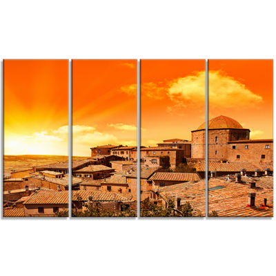 Designart Wonderful Italy Tuscany Hill At Dawn Extra Large Canvas Art Print - 4 Panels