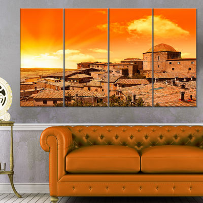 Wonderful Italy Tuscany Hill At Dawn Extra Large Canvas Art Print - 4 Panels