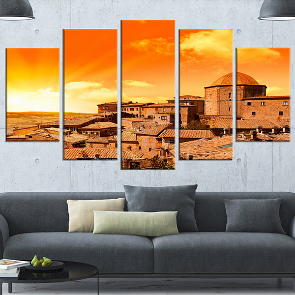 Design Art Wonderful Italy Tuscany Hill At Dawn Orange ExtraLarge Canvas Art Print - 5 Panels
