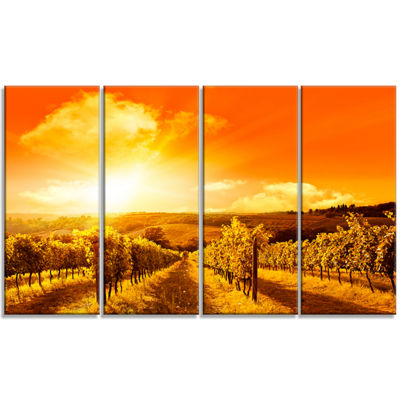 Designart Scenic Sunset Road In Italy Large Landscape Canvas Art - 4 Panels