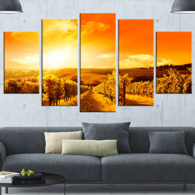 Designart Scenic Sunset Road In Italy Large Landscape Wrapped Canvas Art - 5 Panels