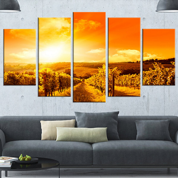Design Art Scenic Sunset Road In Italy Large Landscape Canvas Art - 5 Panels