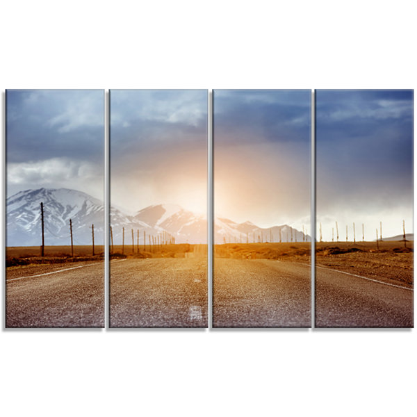 Designart Straight Road Under Blue Sky Large Landscape Canvas Art - 4 Panels