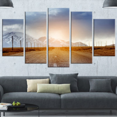 Designart Straight Road Under Blue Sky Large Landscape Wrapped Canvas Art - 5 Panels