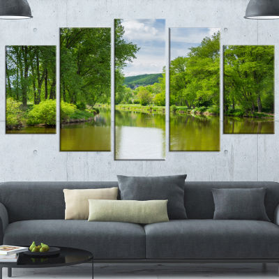 Designart Beautiful Summer With Green Grass LargeLandscapeWrapped Canvas Art - 5 Panels
